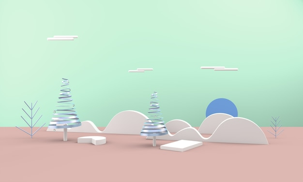 Abstract christmas landscape with christmas trees