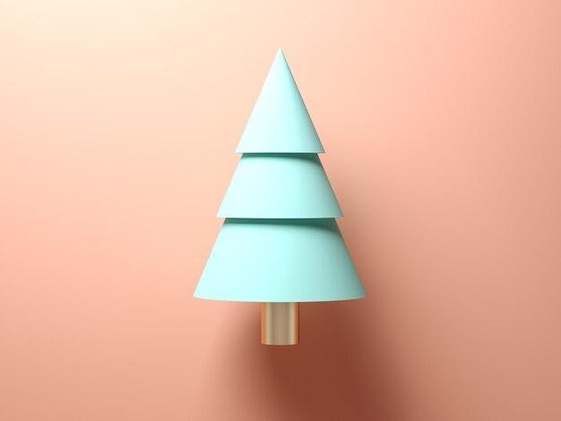Абстрактная рождественская елка на розовом фоне 3d