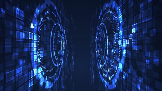 抽象的なサークルサイバーデジタル技術グラフィックイラスト青い色。インターネットの未来的な概念。