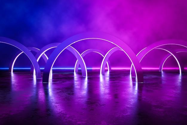 Abstract circles of neon lights