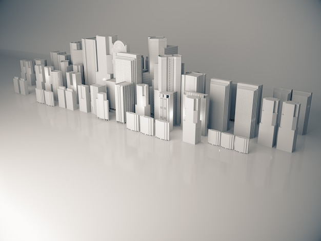 Abstract city model 3d rendering