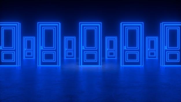 宇宙への連続した抽象的な閉じたドア