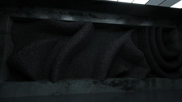 Абстрактное облако синих сфер в футуристической комнате