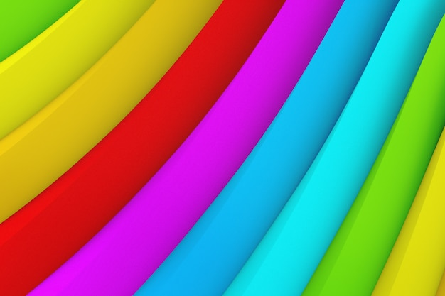 Abstract color background of many wavy stripes of different colors