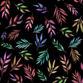 抽象的な色の枝、シームレスなパターン。水彩風。