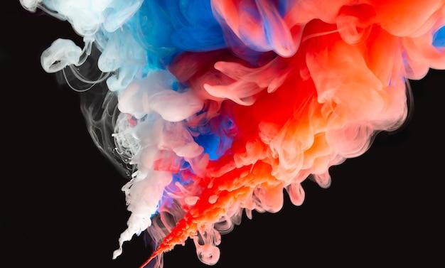 抽象カラーミックス、水に落ちるインクカラーミックスペイントのドロップ水中のカラフルなインク、水中のカラードロップ