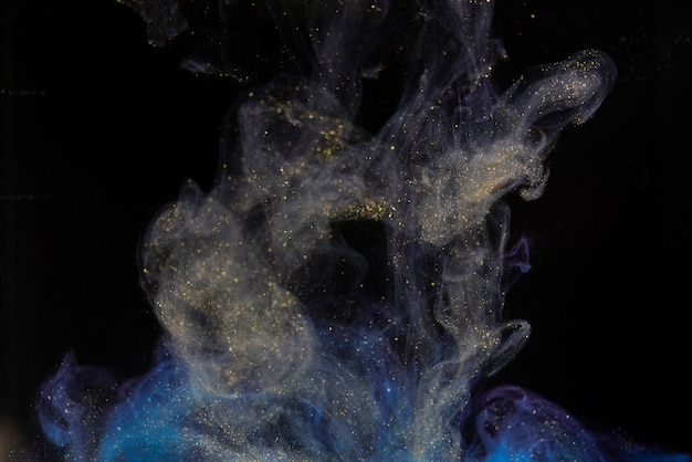 黒の背景に分離された抽象的なカラーペイントスプラッシュ
