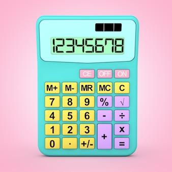 분홍색 배경에 추상적인 색 장난감 계산기 아이콘입니다. 3d 렌더링