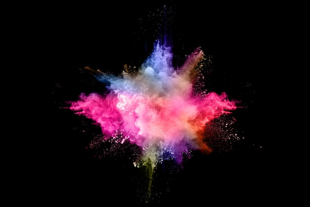 Abstract colored dust explosion on a black.