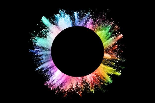 검정색에 추상 컬러 먼지 폭발입니다.