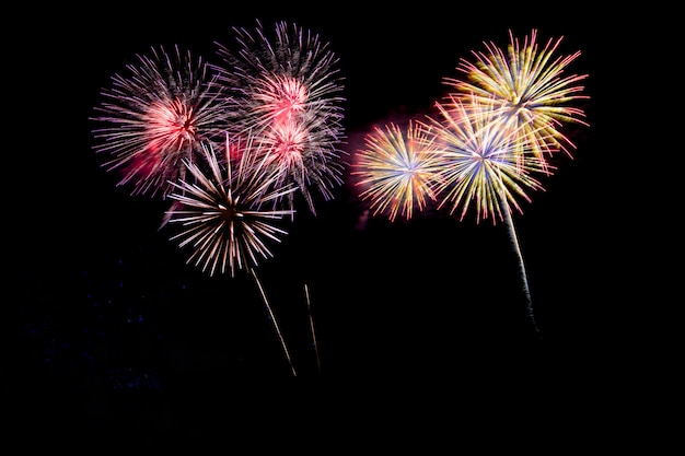 Abstract colored firework background with free space for text.
