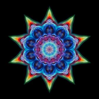 黒の背景に抽象的な色のネオンの花。デザインの要素は明るい花です