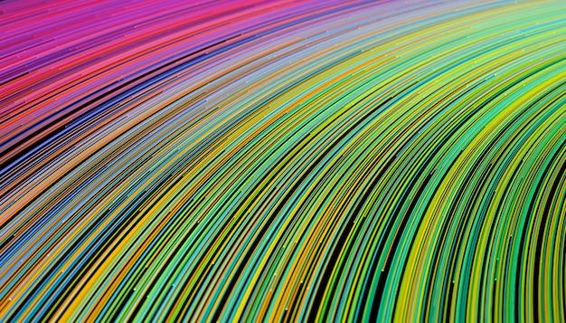 끝에 빛이 함께 추상 색깔의 통신 전선, 3d 일러스트