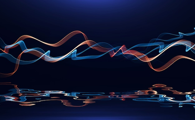 반사 펄스 전원 라인 음악에 빛나는 추상적인 색 물결 모양의 임펄스 라인