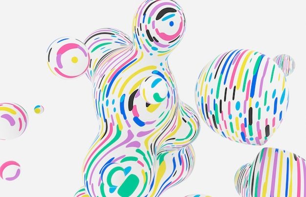 Abstract colorful 3d art background. holographic floating liquid blobs, soap bubbles, metaballs. memphis style.