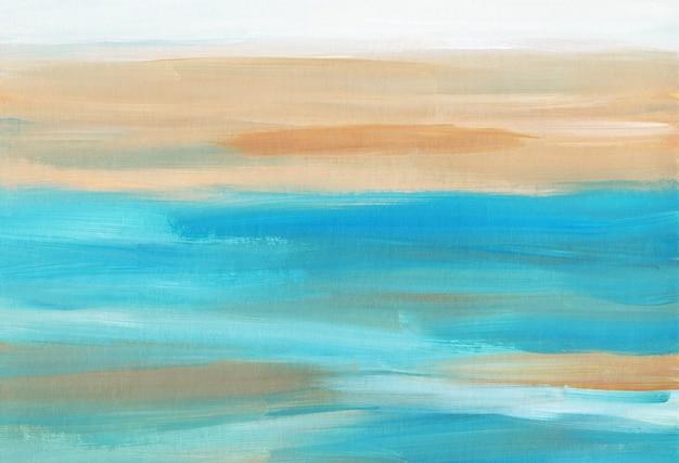 Абстрактный красочный художественный фон, мазки кистью желтый, синий, коричневый и белый на бумаге
