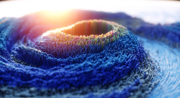Абстрактный красочный фон. цифровой 3d топографический пейзаж природы с голубым вулканом или вихрем.