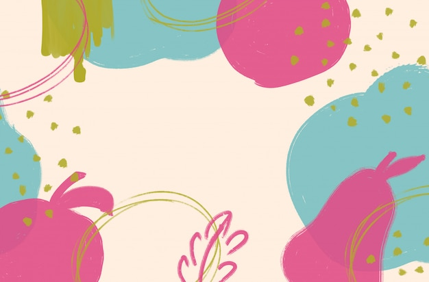 Abstract colorful background with brush strokes and shapes