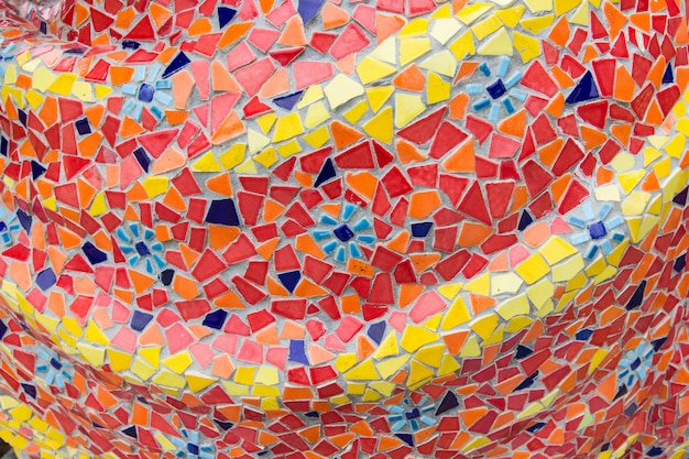 Abstract, colorful ceramic tile patterns in temple (wat ban rai) at dan khun thot district, nakhonratchasima province, thailand