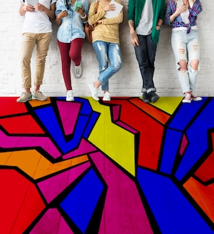 Abstract colorful drawing uillustration concept