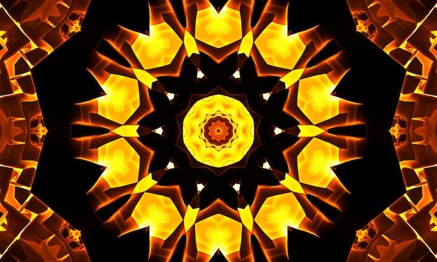Абстрактные красочные цветы флора концепция симметричный узор орнамент декоративный калейдоскоп движение геометрический круг и формы звезд