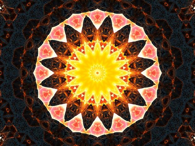 추상 화려한 꽃 식물 개념 대칭 패턴 장식 장식 만화경 운동 기하학적 원형 및 별 모양.