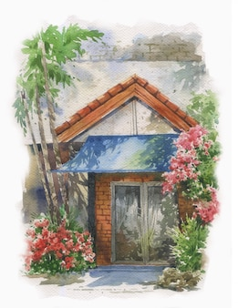 Abstract colorful flowers  and home in watercolor painting.