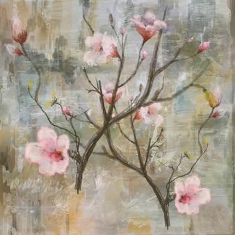 抽象的なカラフルな花の絵。春の色とりどりのイラスト
