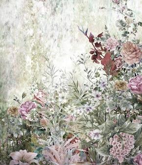 抽象的なカラフルな花の水彩画。自然の中で色とりどりの春