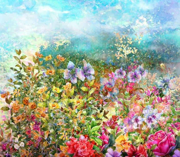 抽象的なカラフルな花の水彩画。色とりどりの春