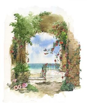 抽象的なカラフルな花の水彩画。建物と壁が海の近くにある春
