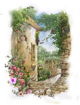 抽象的なカラフルな花の水彩画。建物と壁のある春