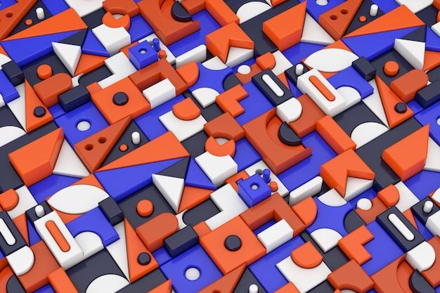 Абстрактные красочные геометрические блокирующие формы фон крайний крупный план. 3d рендеринг