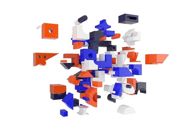 추상 다채로운 기하학적 차단 모양 동적 흰색 배경에 이동합니다. 3d 렌더링