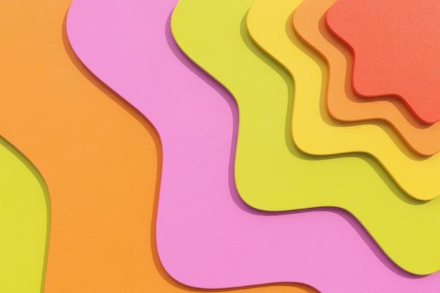 Абстрактные красочные геометрические волнистые формы фоновой текстуры с перекрывающимися слоями крайним крупным планом. 3d рендеринг