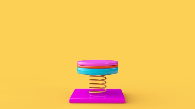 Abstract colorful geometric podium. 3d rendering