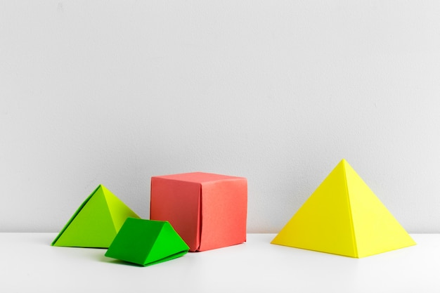 Abstract colorful geometrical origami pieces