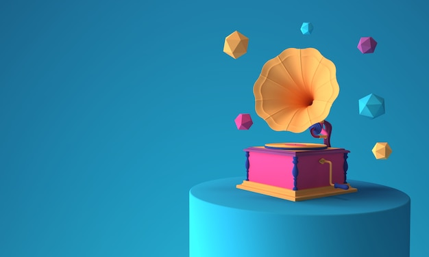 Abstract colorful gramophone