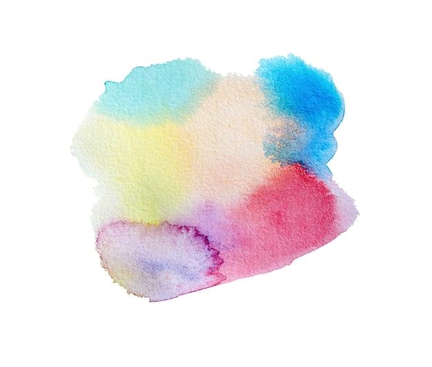 淡いピンクの染みのしずくが白い背景で隔離の抽象的なカラフルな手描きの水彩画アート