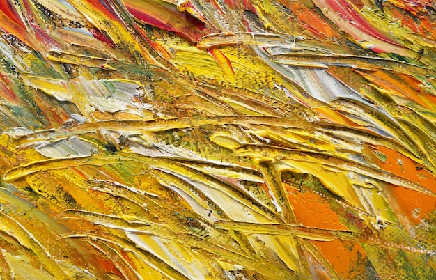 Abstract colorful oil painting on canvas oil paint texture with brush and palette knife strokes