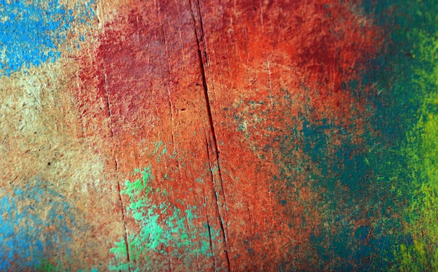 Abstract colorful oil painting on wooden board