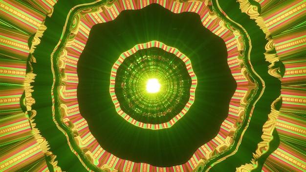 네온 불빛으로 빛나고 환각 터널 4k uhd 3d 그림을 형성하는 추상 화려한 장식