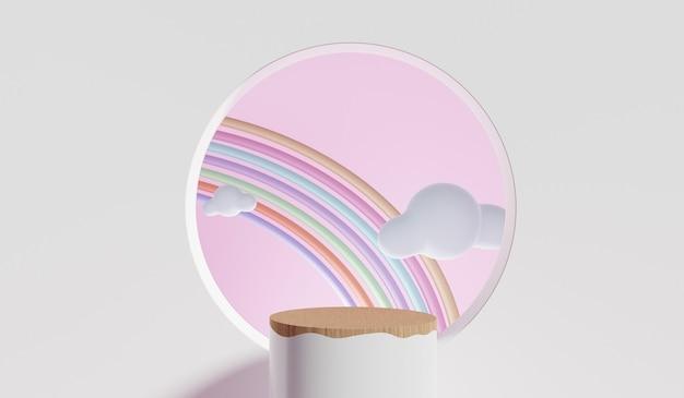 실린더 연단, 기하학 추상 다채로운 파스텔 배경은 어린이 또는 아기 제품에 대 한 서. 3d 렌더링.