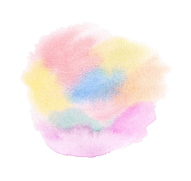 Abstract colorful pastel hand drawn watercolor texture isolated on white background