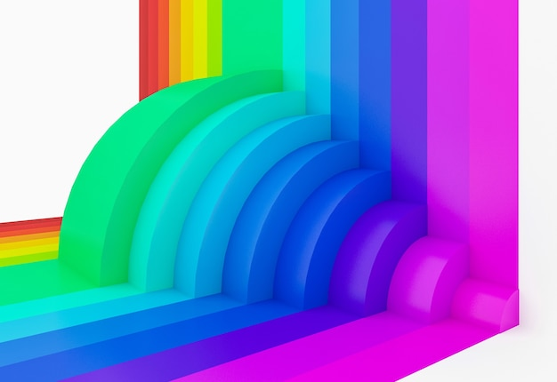 Абстрактный красочный фон перспективы радуги, 3d