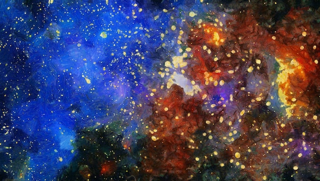 Abstract colorful watercolor for background. space hand painted watercolor background. abstract galaxy painting. cosmic texture with stars
