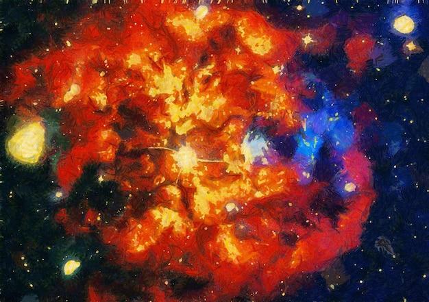 배경에 대 한 추상 다채로운 수채화입니다. 공간 손으로 그린 수채화 배경. 추상 은하계 그림. 별과 우주 질감