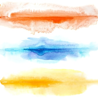 Abstract colorful watercolor lines isolated over the white background