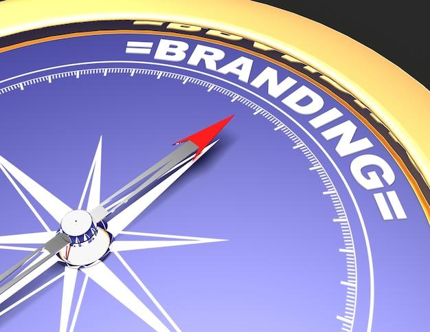 Абстрактный компас с иглой, указывающей брендинг слова. концепция брендинга