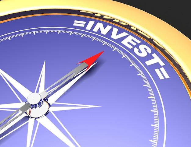 Абстрактный компас с иглой, указывающей слово инвестировать. концепция инвестирования